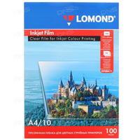Пленка А4 10 листов 100 мкм Прозрачная для струйной печати, 0708411, Lomond